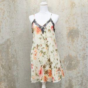 Dresses & Skirts - Floral Spaghetti Strap Dress w/ Black Lace Detail